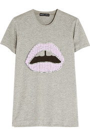 Lara Lip sequined cotton-blend jersey T-shirt