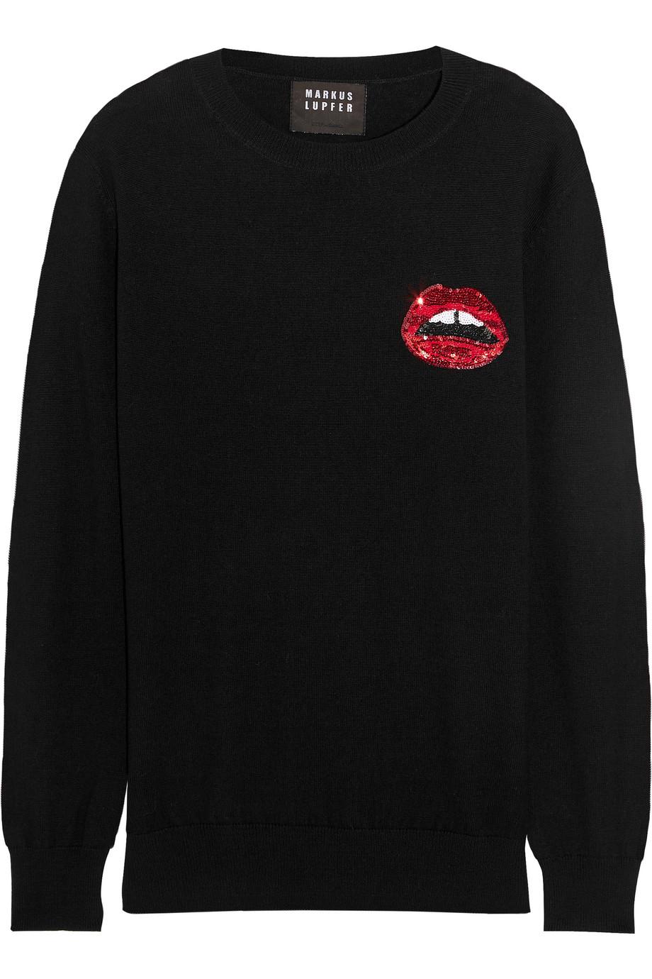 Markus Lupfer Lara Lip Sequined Merino Wool Sweater, Black, Women's