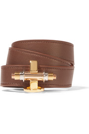 Obsedia bracelet in brown leather and gold-tone