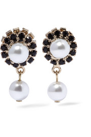 Earrings in gold-tone, faux pearl and Swarovski crystal
