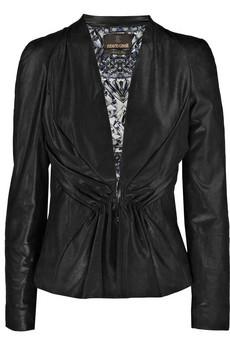 Roberto CavalliRuched iridescent leather jacket