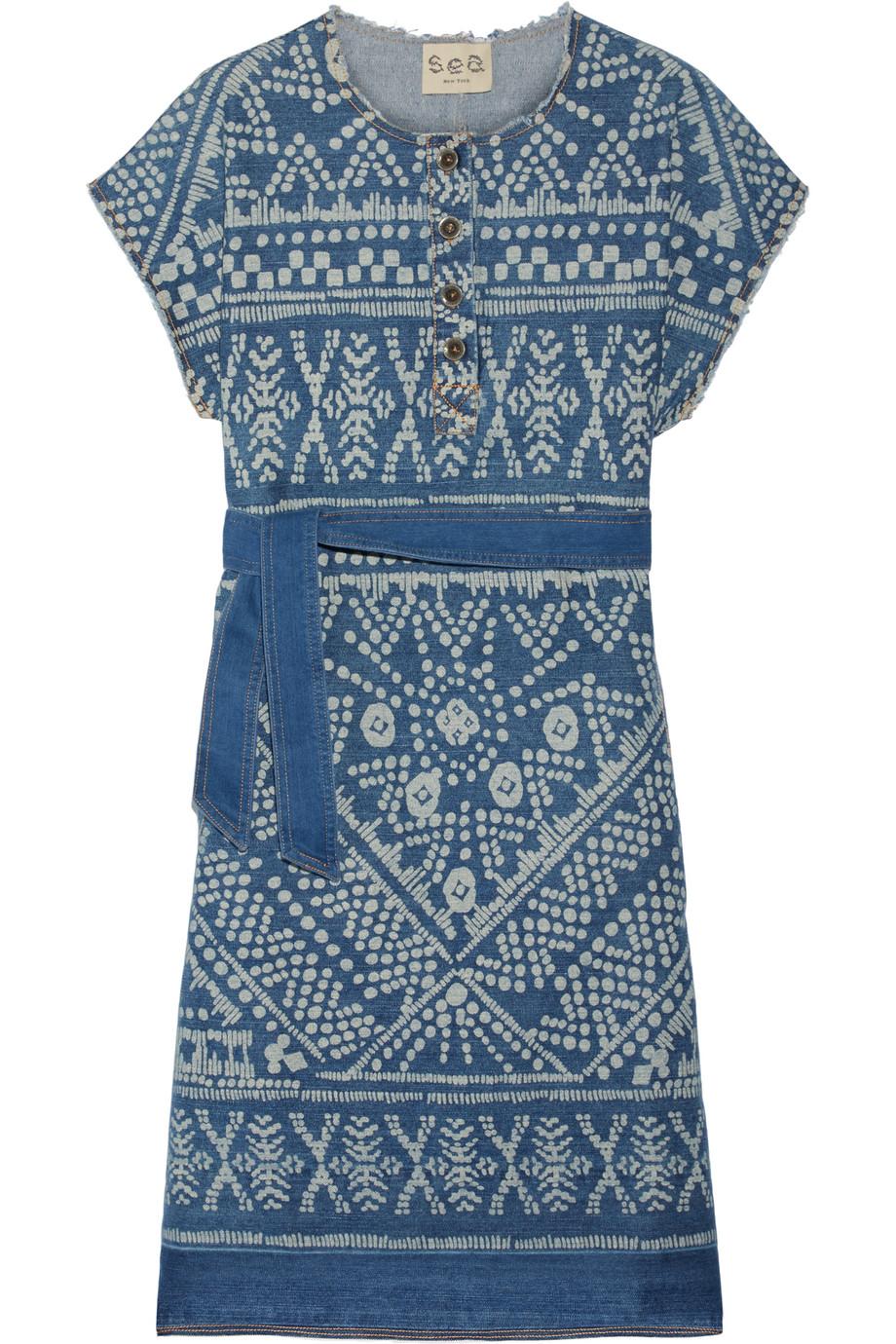 SEA Printed Denim Dress, Mid Denim, Women's - Printed