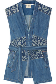 Patchwork printed denim vest