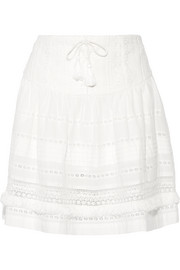 SEA Crochet-paneled cotton-voile skirt