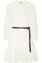Fringed broderie anglaise cotton dress