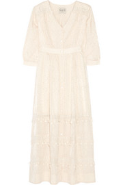 Crochet-trimmed cotton and silk-blend maxi dress