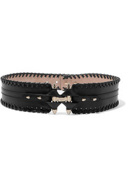 Obsedia belt in black whipstitched leather