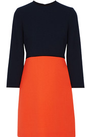 Victoria, Victoria Beckham Two-tone wool-crepe mini dress