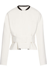 Belted satin-trimmed wool-crepe jacket