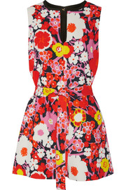 Floral-print wool playsuit