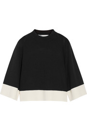 Cropped wool and cashmere-blend sweater