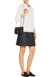 Silk-trimmed stretch-denim mini skirt