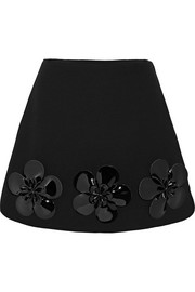 Floral-appliquéd wool mini skirt