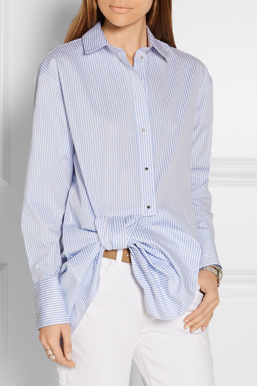 Victoria, Victoria Beckham Bow-embellished striped cotton-poplin shirt