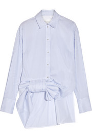 Bow-embellished striped cotton-poplin shirt