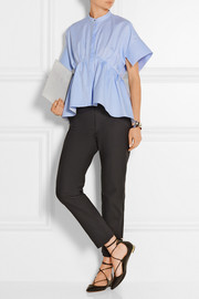 Asymmetric cotton-poplin peplum shirt