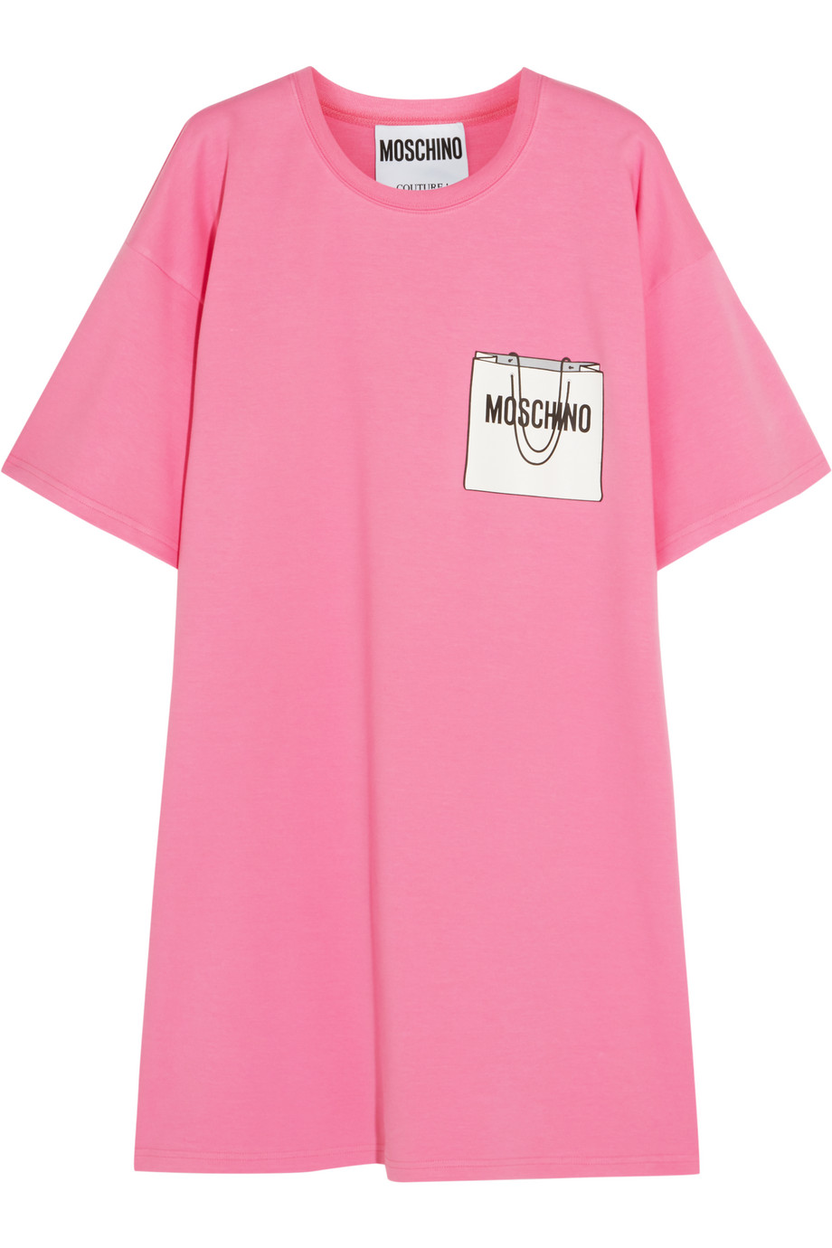 Moschino Printed Cotton-Blend T-Shirt Dress, Pink, Women's - Printed, Size: 42