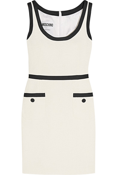 Moschino - Satin Twill-trimmed Cotton-blend Bouclé-tweed Mini Dress - Off-white