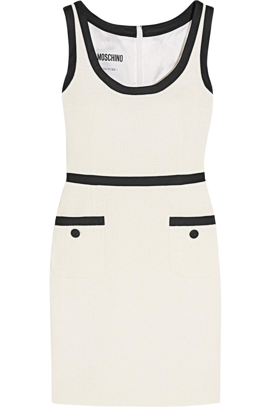 Moschino Satin Twill-Trimmed Cotton-Blend Bouclé-Tweed Mini Dress, Off-White, Women's, Size: 42