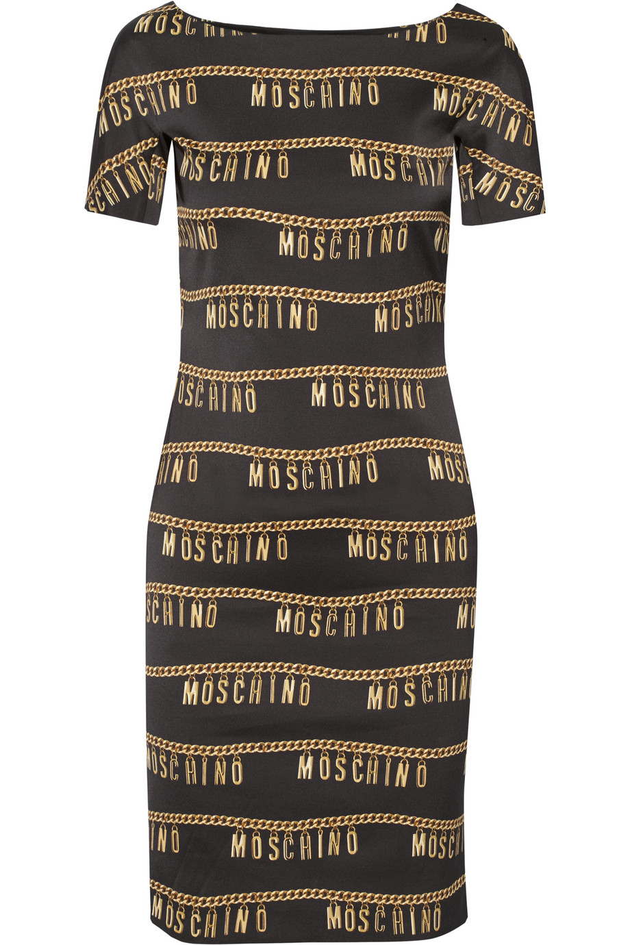 Moschino Printed Stretch-Crepe Dress, Black, Women's - Printed, Size: 48
