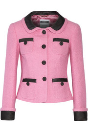 Moschino Satin twill-trimmed cotton-blend bouclé-tweed jacket