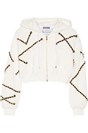 Cropped embellished cotton-jersey hooded top