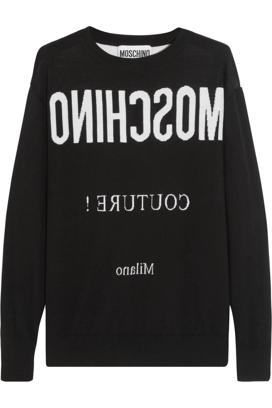 Moschino Intarsia Wool Sweater, Black, Women's