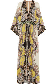 Embellished printed silk gown