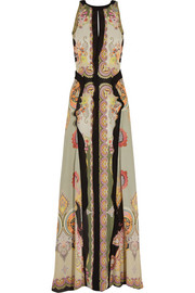 Printed slub silk-crepe maxi dress