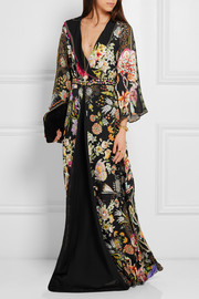 Embellished printed silk-chiffon gown