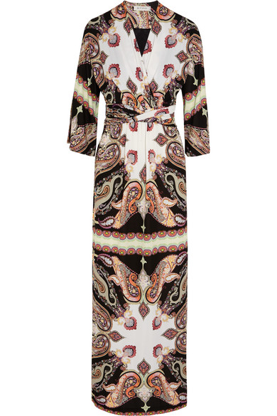 Etro - Printed Wrap-effect Crepe Maxi Dress - Neutral