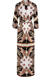 Printed wrap-effect crepe maxi dress