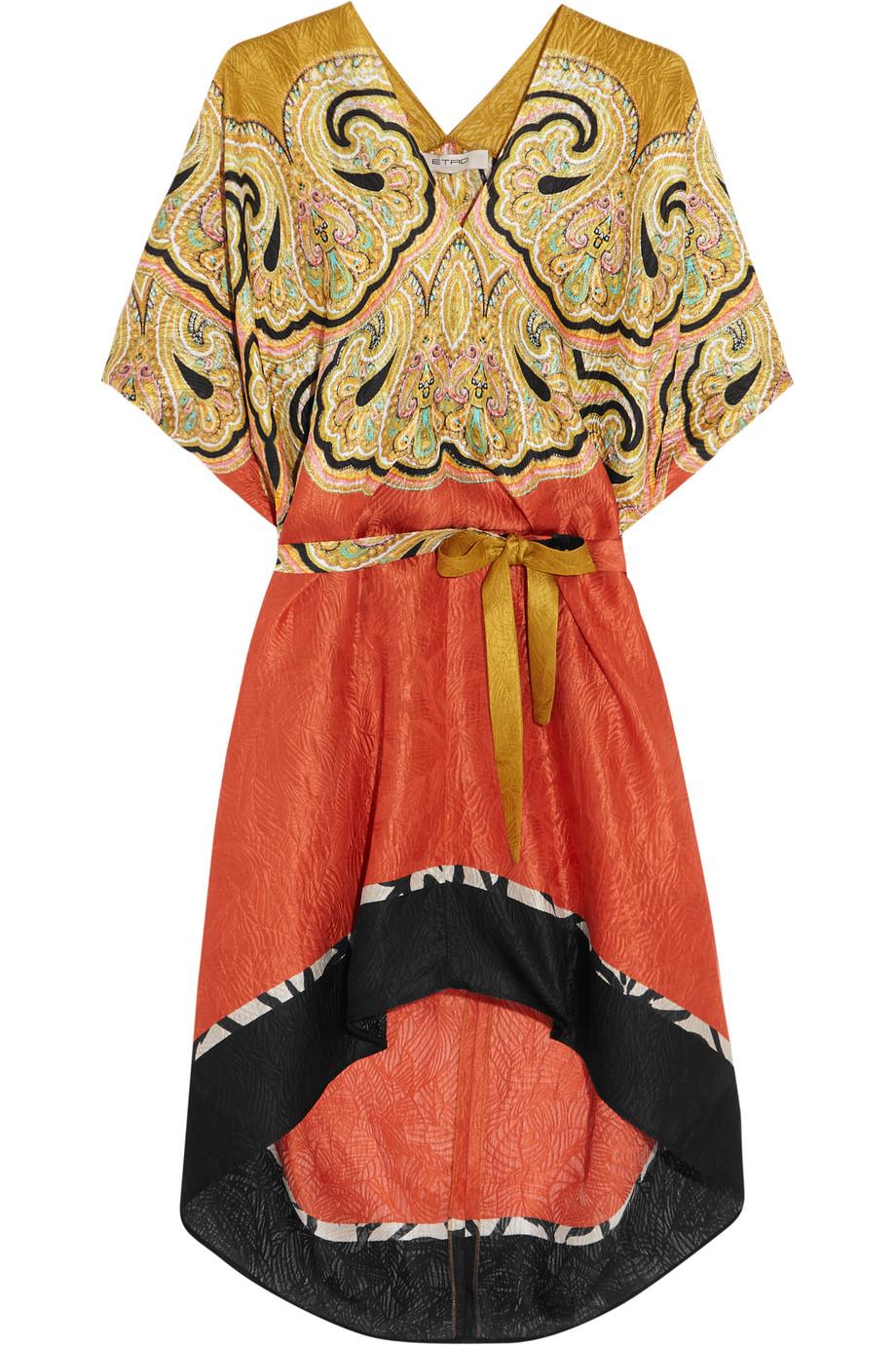 Etro Printed Silk-Jacquard Mini Dress, Orange, Women's - Printed, Size: 42