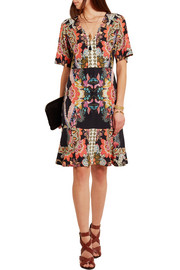 Printed silk-crepe mini dress