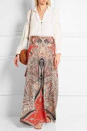 Printed silk crepe de chine maxi skirt