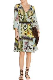 Wrap-effect printed silk crepe de chine dress