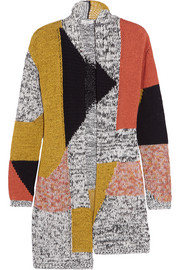 Color-block cotton-blend cardigan