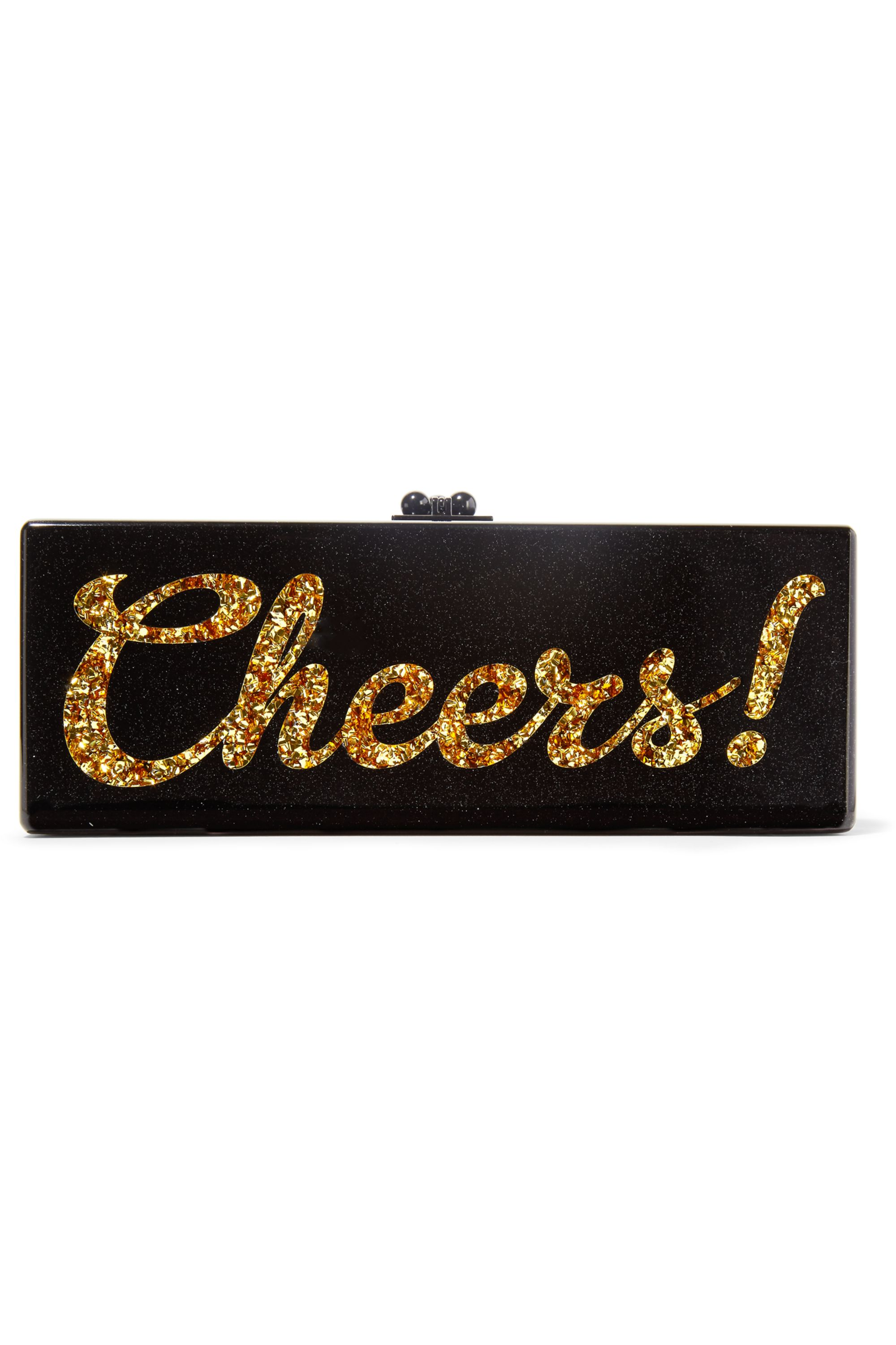 Edie Parker Flavia Cheers glittered acrylic box clutch