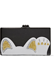Jean Beckoning Cat glittered acrylic box clutch