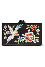 Jean embroidered satin and acrylic box clutch