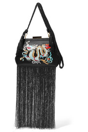 Lauren fringed embroidered satin clutch