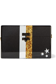 Small Trunk Stars and Stripes glittered acrylic box clutch
