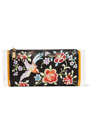 Soft Lara embroidered satin and acrylic box clutch