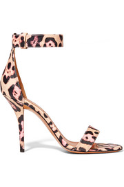 Retra leopard-print textured-leather sandals