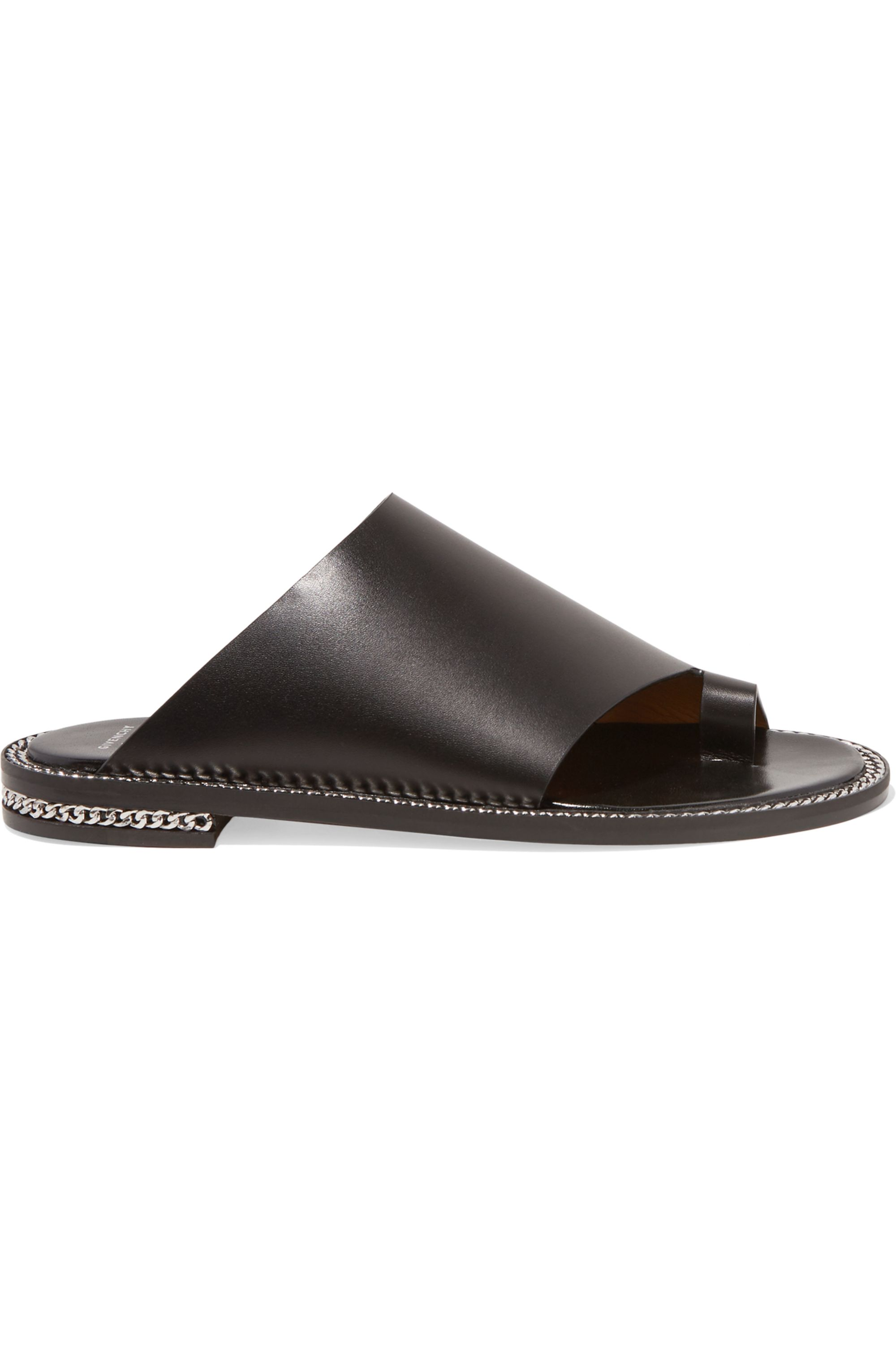 Givenchy Rosamunda chain-trimmed sandals in black leather