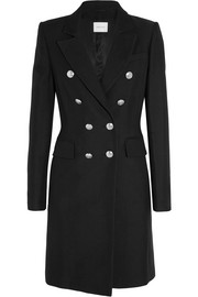 Double-breasted woven cotton-blend coat