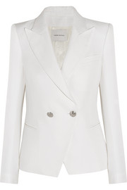 Woven cotton-blend blazer