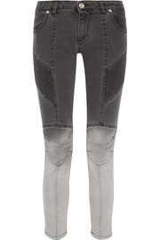 Ombré moto-style low-rise skinny jeans