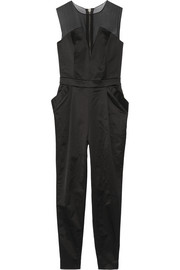 Organza-paneled stretch cotton-blend satin-twill jumpsuit