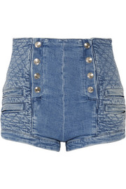 Pierre Balmain Button-detailed quilted stretch-denim shorts